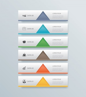 6 data step timeline infographics tab paper index template.