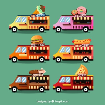 6 different food trucks models collection