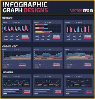 6 different infographic element graph design vector template