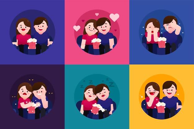 映画を見る6つの異なる気分通常のロマンチックな悲しい怖い退屈で面白い