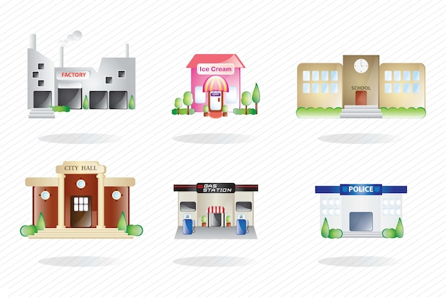 6 differents buildings on white background vector illustration