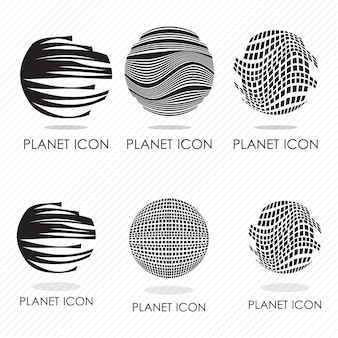 6 differents planet icons silhouettes vector illustration