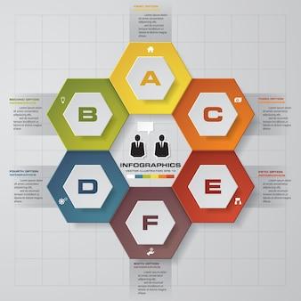 プレゼンテーションのための6段階のinfographics要素図。