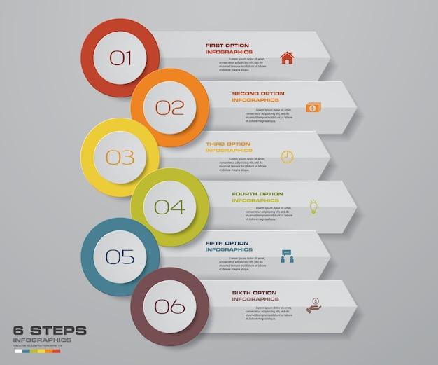 6ステップinfographics矢印テンプレートチャート。