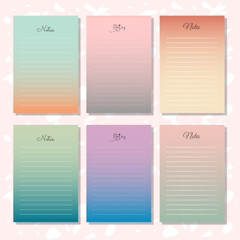 6 note papers with gradation