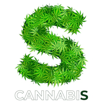 6の6。文字s.大麻またはマリファナの葉のロゴのデザインテンプレート。エンブレム、ロゴ、医療サービスまたはパッケージの広告用の麻。フラットスタイルのアイコン。孤立