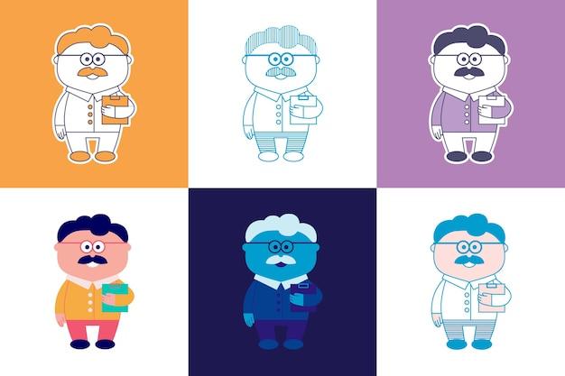メガネ、シャツ、パンツ、フォルダー付きの口ひげを持つ老人の画像の6つのオプション
