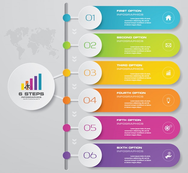 6 options presentation business infographics chart.