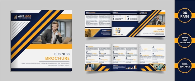 6 page square trifold corporate brochure design template with yellow and dark blue color abstract shapes and information