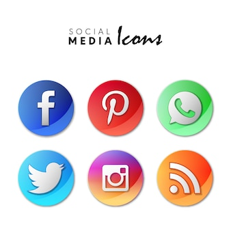 6 popular social media icons set in 3d circles