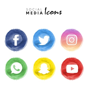 6 popular watercolor social media logotype collection