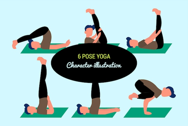 6 pose yoga style illustration