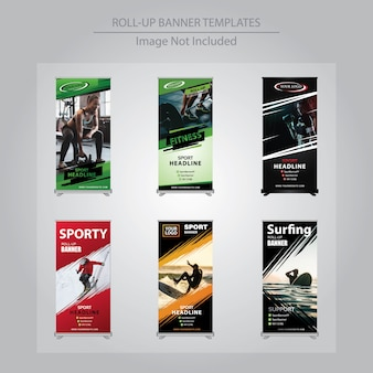 6 set sport roll up banner design templates
