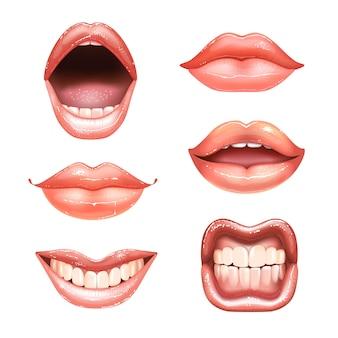 歯のある6つの輝く美しい女性の裸の唇。