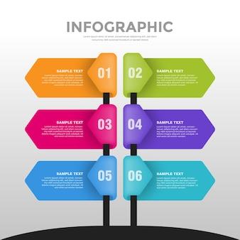 6ステップのビジネスインフォグラフィックテンプレートパック