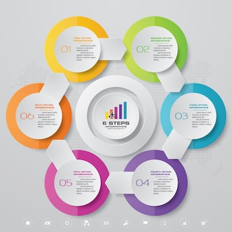 6 steps chart infographics elements.