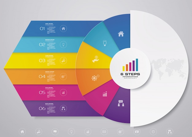 6 steps cycle chart infographics elements for data presentation.