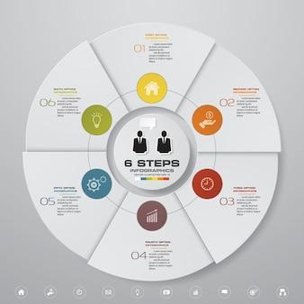 6ステップのサイクルチャートのinfographics要素。