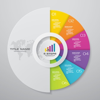 6 steps cycle chart infographics elements.