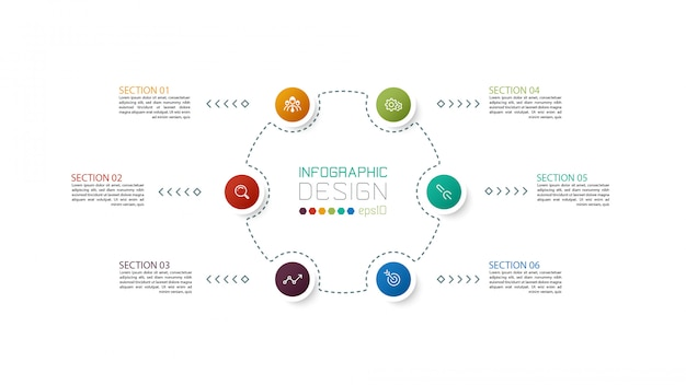 6つのステップのインフォグラフィックデザインテンプレート。