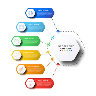 6 steps infographic template with realistic hexagonal elements on white background. company presentation slide template.