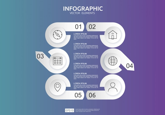 6 steps infographic. timeline design template with 3d paper label