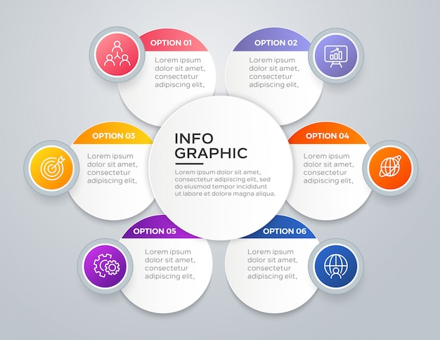 6 steps modern business infographic