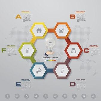 6 steps modern chart infographics elements.