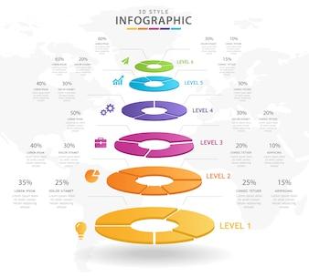 6 Steps Modern Pie chart Mindmap infographic.