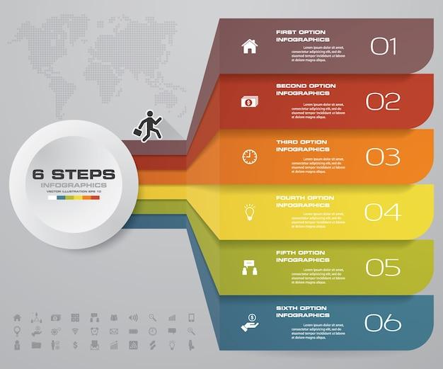 プレゼンテーションのための6ステップのオプションバナー。