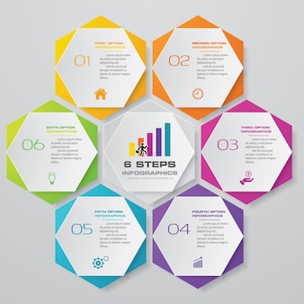 6 steps process chart infographics element.