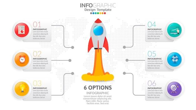 6 шагов запуска инфографики с запуском ракеты. концепция бизнеса и финансов.