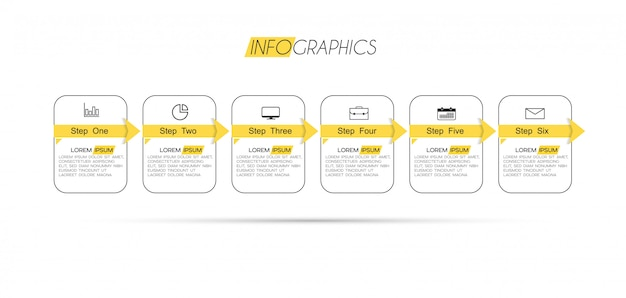 6つのオプションまたは手順を持つインフォグラフィック要素。プロセス、プレゼンテーション、図、ワークフローレイアウト、情報グラフ、webデザインに使用できます。