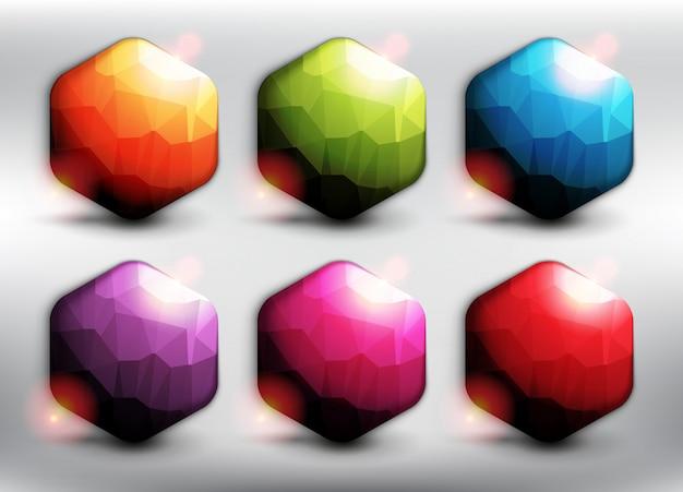 6つの異なる色の低ポリスタイルの六角形のバナー。六角形のwebボタン。白い背景で隔離されました。