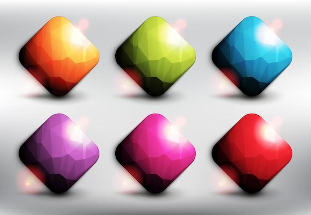 6つの異なる色の低ポリゴンスタイルの正方形。正方形のwebボタン。白い背景で隔離されました。