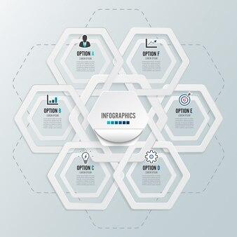 6つのオプション、パンフレット、ビジネス、webデザインのテンプレートとインフォグラフィック