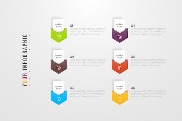 6つのオプション、ステップまたはプロセスのインフォグラフィックコンセプトデザイン。ワークフローのレイアウト、年次報告書、フローチャート、図、プレゼンテーション、webサイト、バナー、印刷物に使用できます。