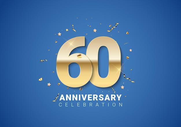 밝은 파란색 배경에 황금 숫자, 색종이 조각, 별이 있는 60주년 배경. 벡터 일러스트 레이 션 eps10