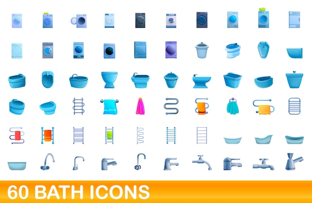 60 bath icons set, cartoon style