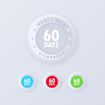 60 days money back guarantee button in 3d style