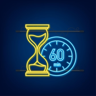 The 60 minutes, stopwatch vector neon icon. stopwatch icon in flat style, timer on on color background. vector illustration.