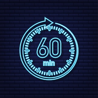 The 60 minutes stopwatch vector neon icon stopwatch icon in flat style