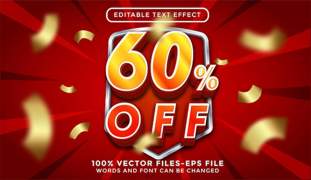 Скидка 60% на 3d текст. редактируемый текстовый эффект премиум векторы