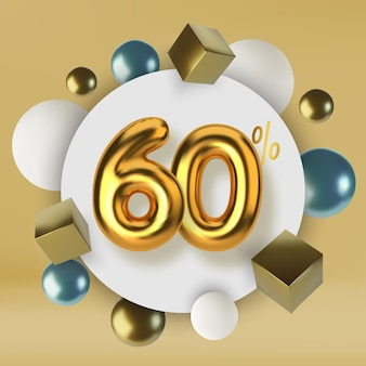 60 off discount promotion sale made of 3d gold text realistic spheres and cubes