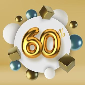 Скидка 60 на акцию из 3d-золотого текста реалистичные сферы и кубики
