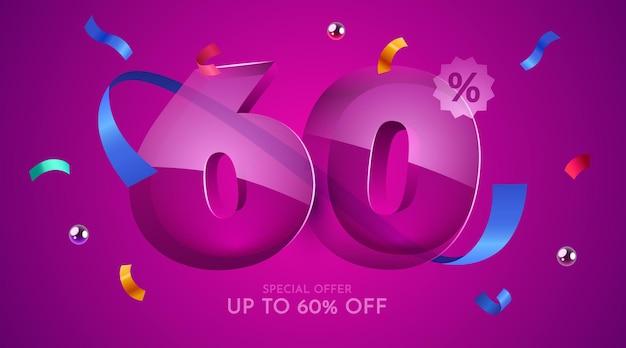 60% 할인 크리에이티브 구성 메가 세일 기호 할인