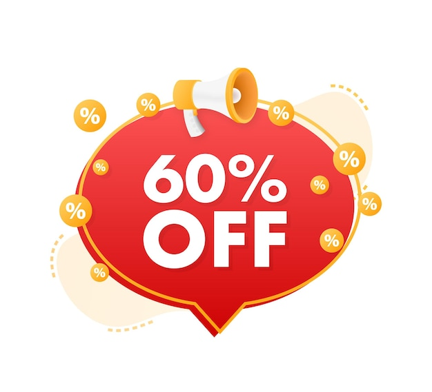 60 percent off sale discount banner with megaphone discount offer price tag