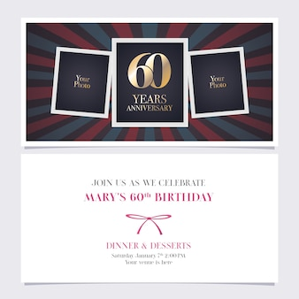 60 years anniversary invitation. photo frame collage for 60th birthday card, party invite