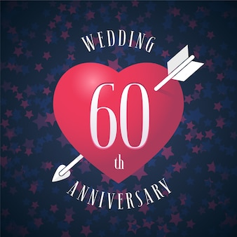 60 лет со дня свадьбы. сердце и стрела для украшения 60-летия свадьбы.