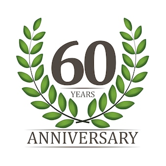 赤いリボンと月桂樹のリースの60周年記念テンプレート